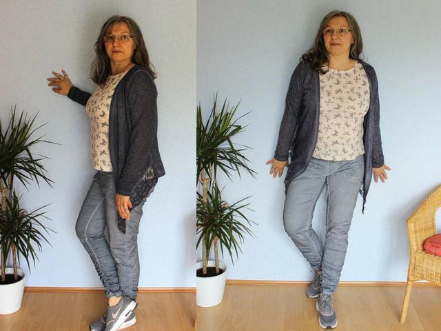 Chino Sommerhose mit Strickjacke und T-Shirt