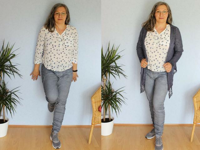 Sommerhose mit Bluse und Strickjacke