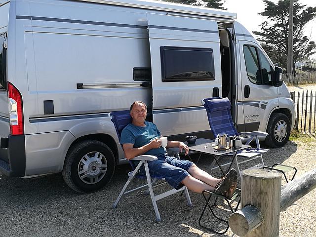 Auf dem Wohnmobil Stellplatz in Soulac-sur-Mer