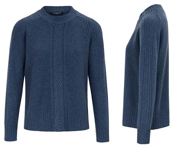 Kaschmir-Pullover mit Zopfmuster