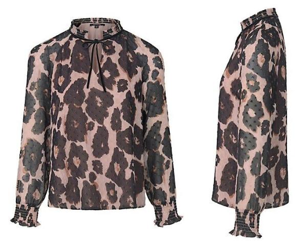 Bluse zum Schlupfen im trendigen Animal Print