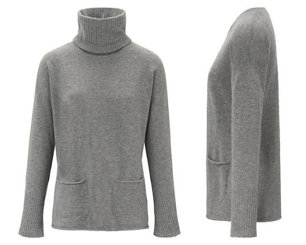 Kaschmir-Pullover mit abnehmbaren Rollkragen