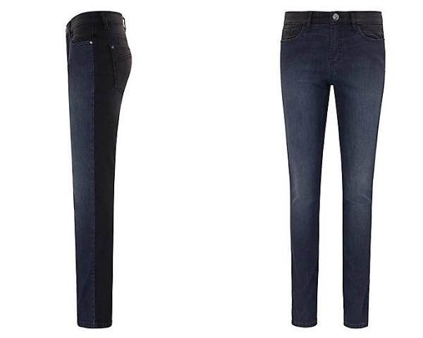 Jeans mit kontrastfarbenen Rückteil